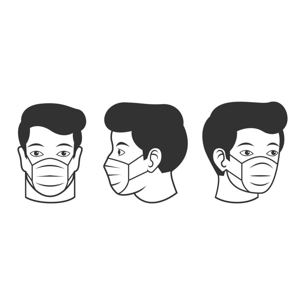 man i ansiktsmask linje Ikonuppsättning vektor