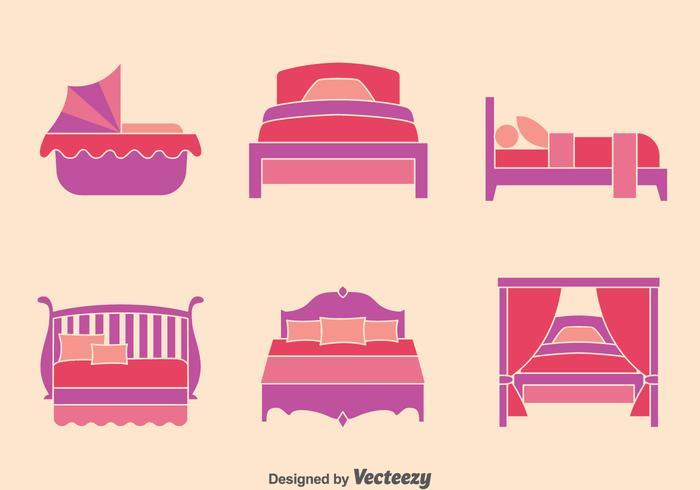 Bett Flach Icons Sammlung Vektor