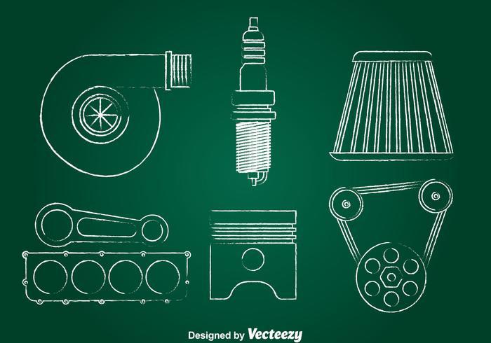 Turbo Engine Kreide Zeichnen Icons Set vektor