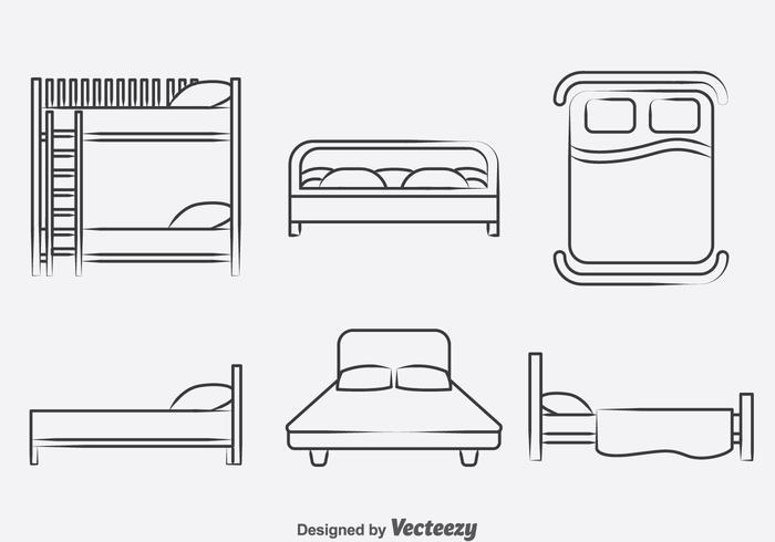 Bett Sammlung Icons Vektor
