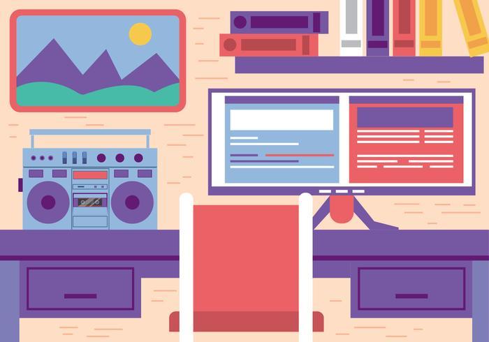 Gratis Flat Vector Office Workspace