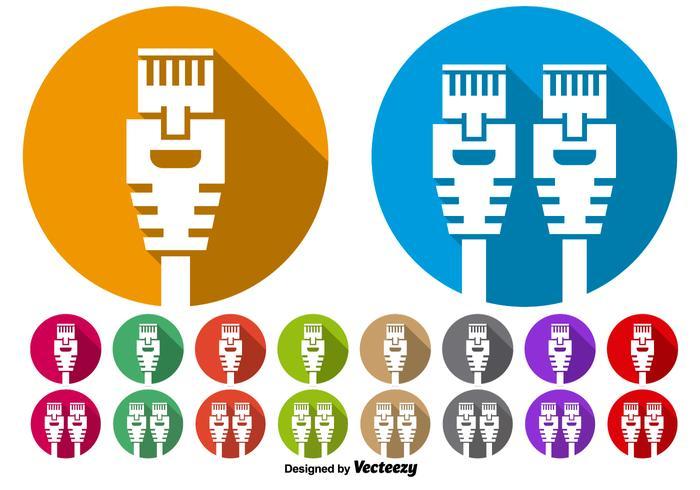 Vektor uppsättning av Ethernet port ikon knappar