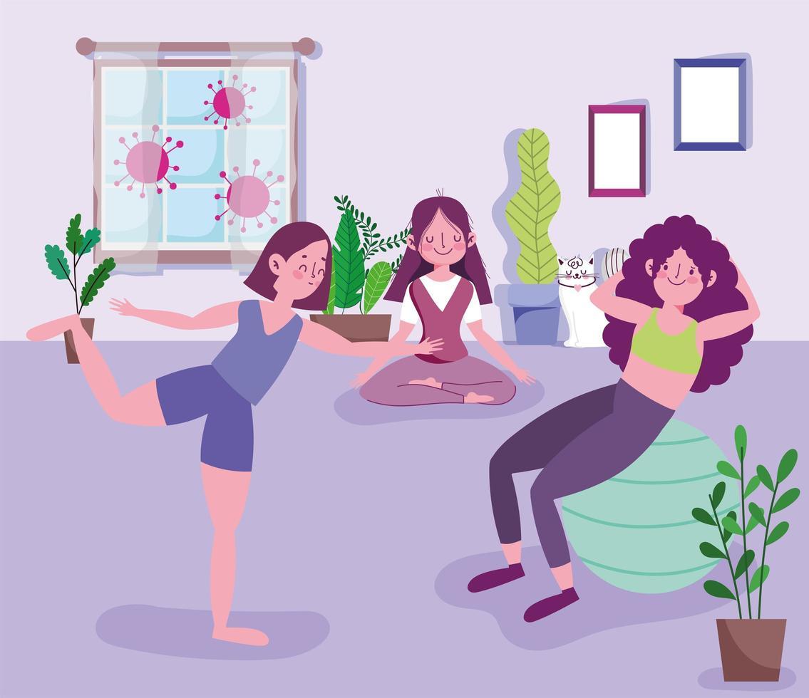 unga kvinnor grupp som utövar yoga vektor