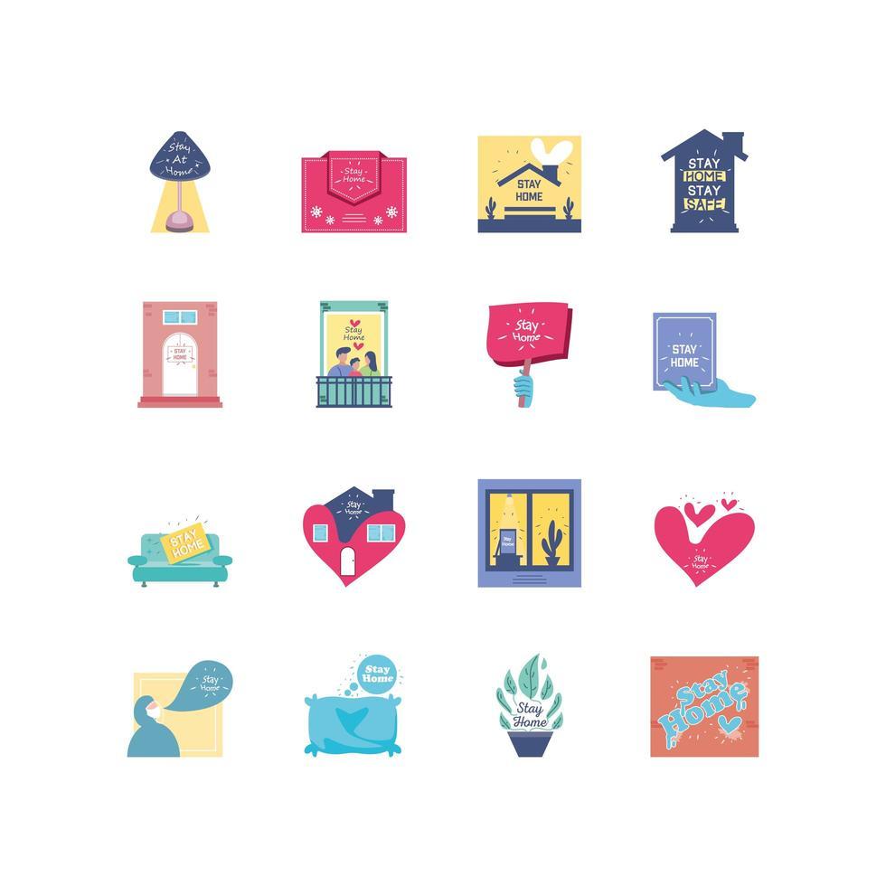 Sammlung von Symbolen für den Aufenthalt zu Hause vektor