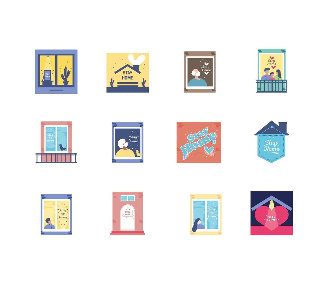 Bleib zu Hause Icons Sammlung vektor