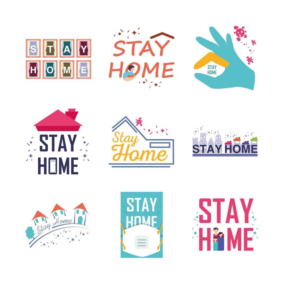 Bleib zu Hause und verhindere Symbole vektor