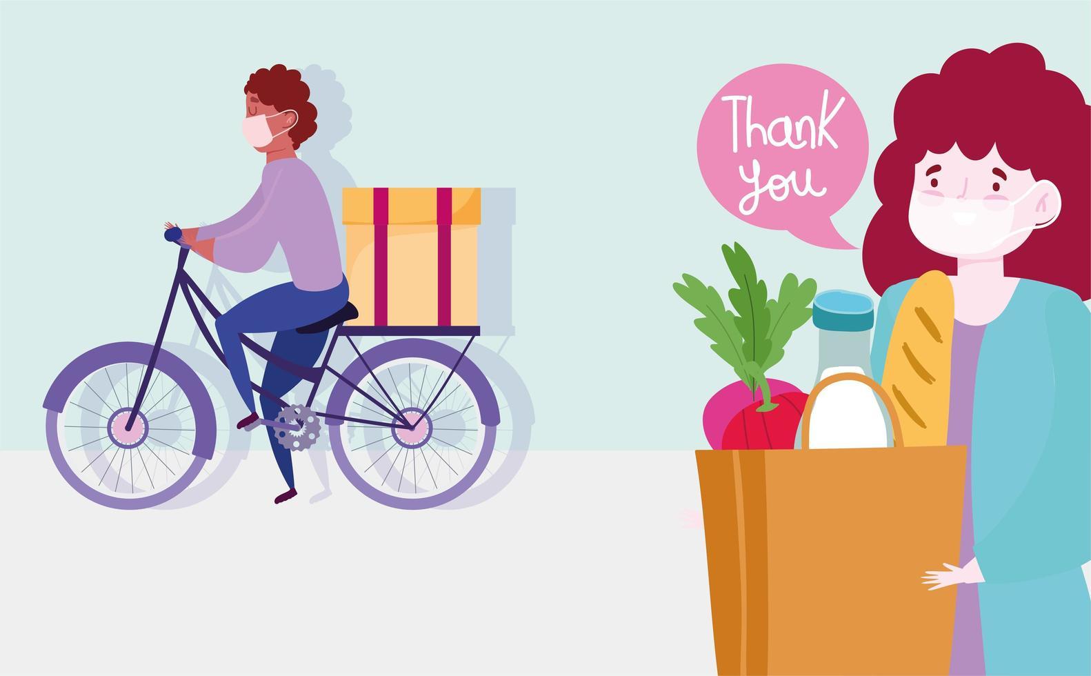 cykel kurir man levererar säkert livsmedel under koronavirus utbrott vektor