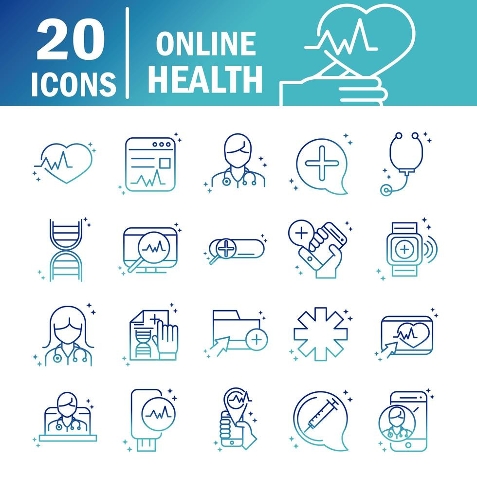 Online-Gesundheitssymbole vektor