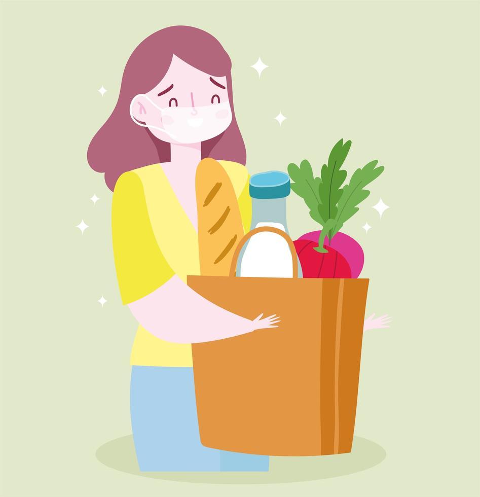Frau trägt eine Gesichtsmaske mit einer Tüte Lebensmittel vektor