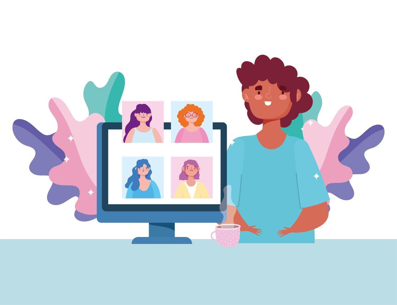 människor i en videokonferens på datorn vektor