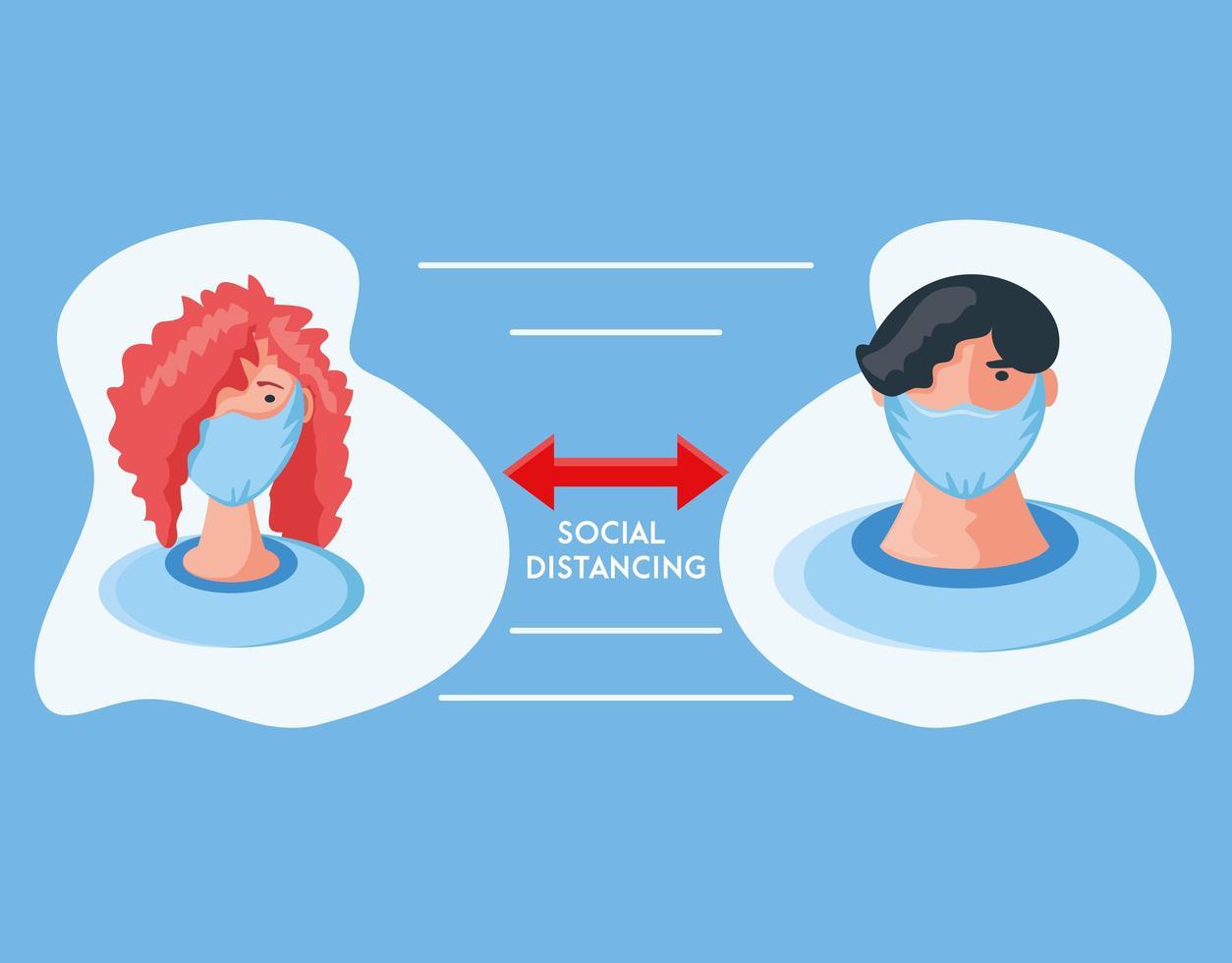 infographic med människors sociala avstånd och att vara säker vektor