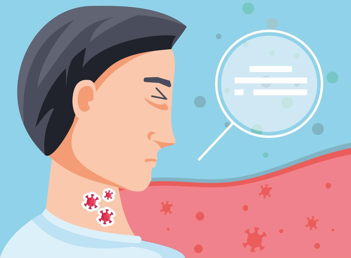 kranker Mann mit Coronavirus, der an Symptomen leidet vektor