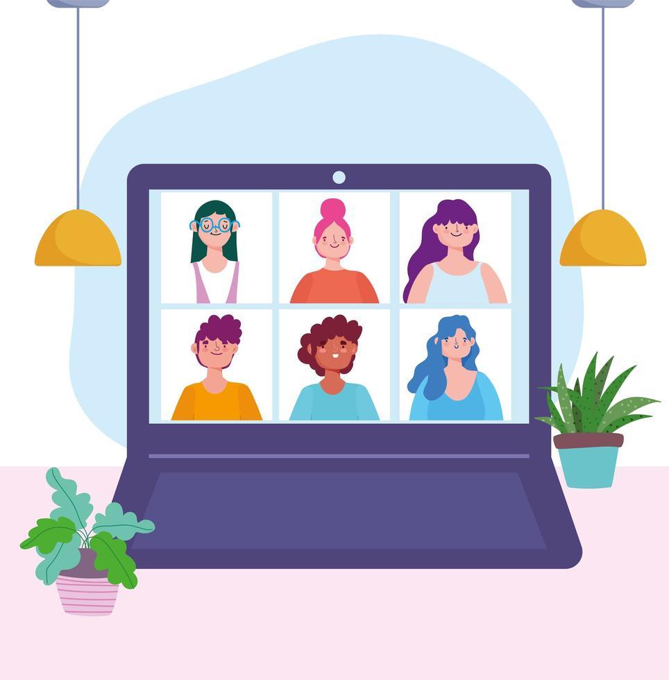 Laptop mit Personen in einer Online-Besprechung oder Konferenz vektor