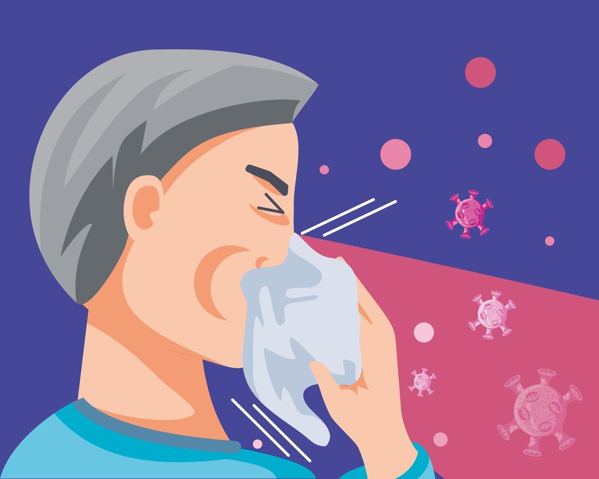 man smittad med koronavirus lidande symtom vektor