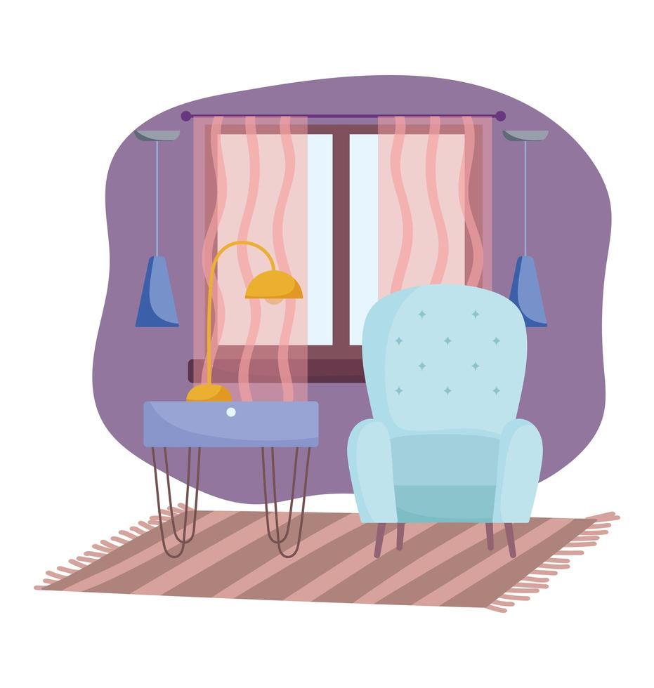 gemütliches Zimmer und Innenausstattung mit Möbeln vektor