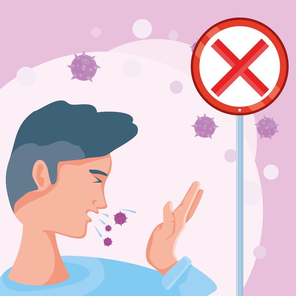man som är sjuk av koronavirus lider av symtom vektor