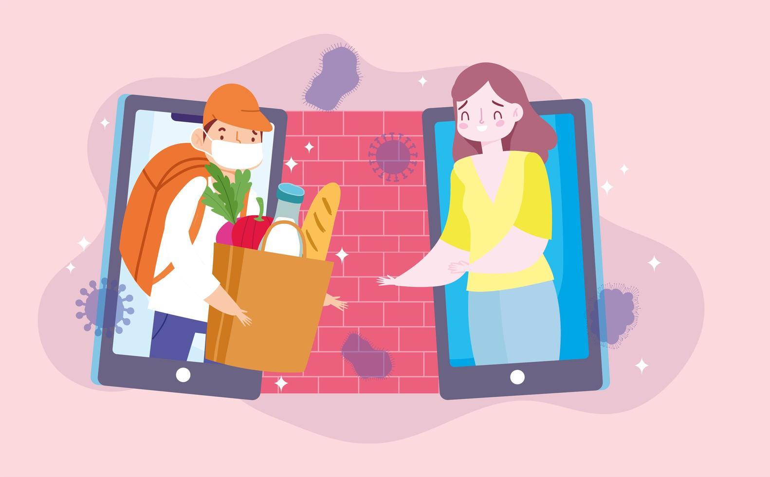 Online-Lebensmittelbestellung wird sicher zu Hause geliefert vektor