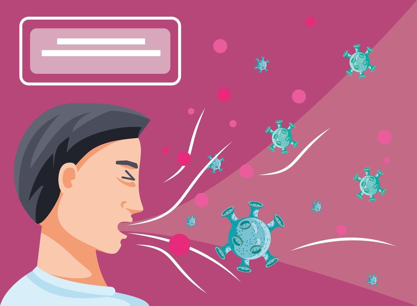 man smittad av coronavirus lider av symtom vektor