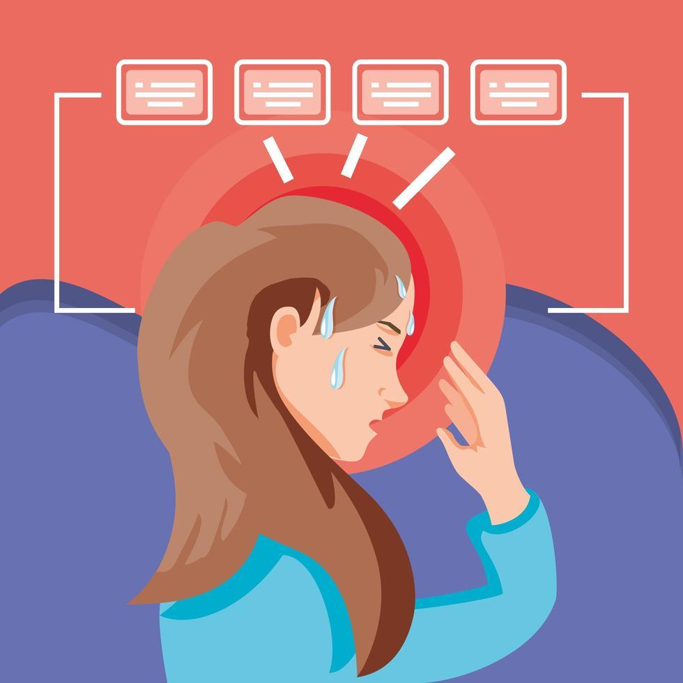 kvinna smittad med coronavirus lider av symtom vektor