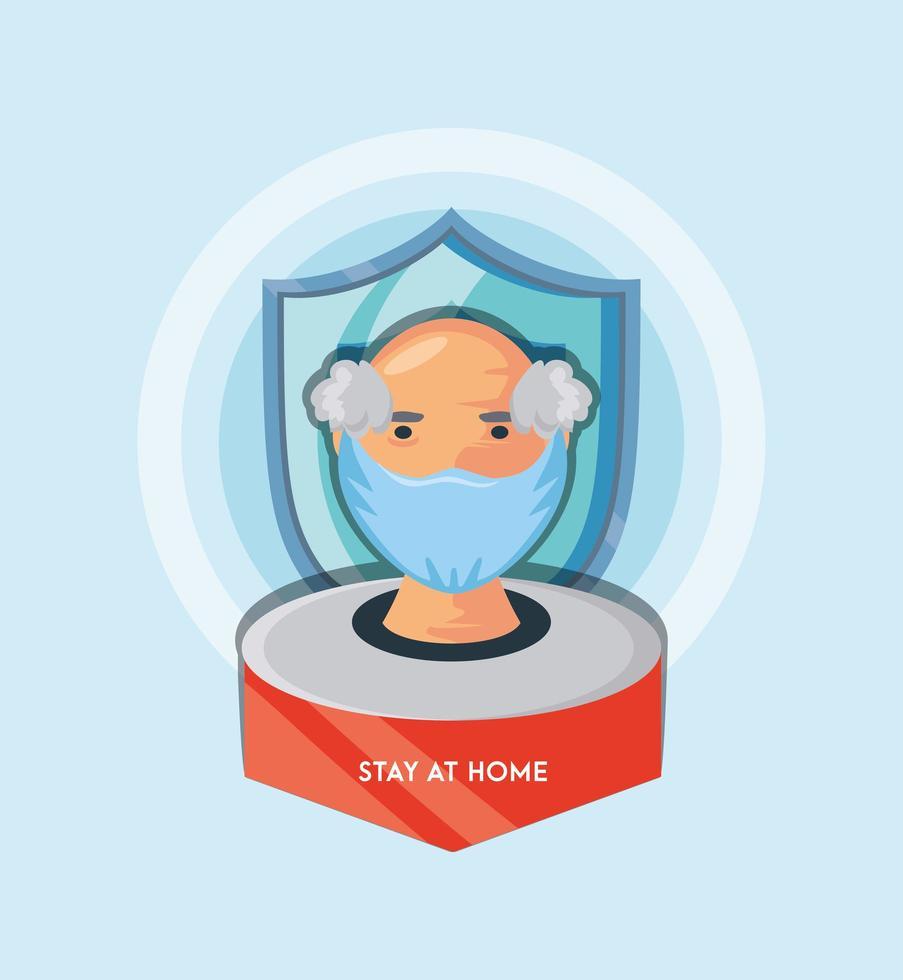 äldre man stannar hemma för att förhindra coronavirusinfektion vektor