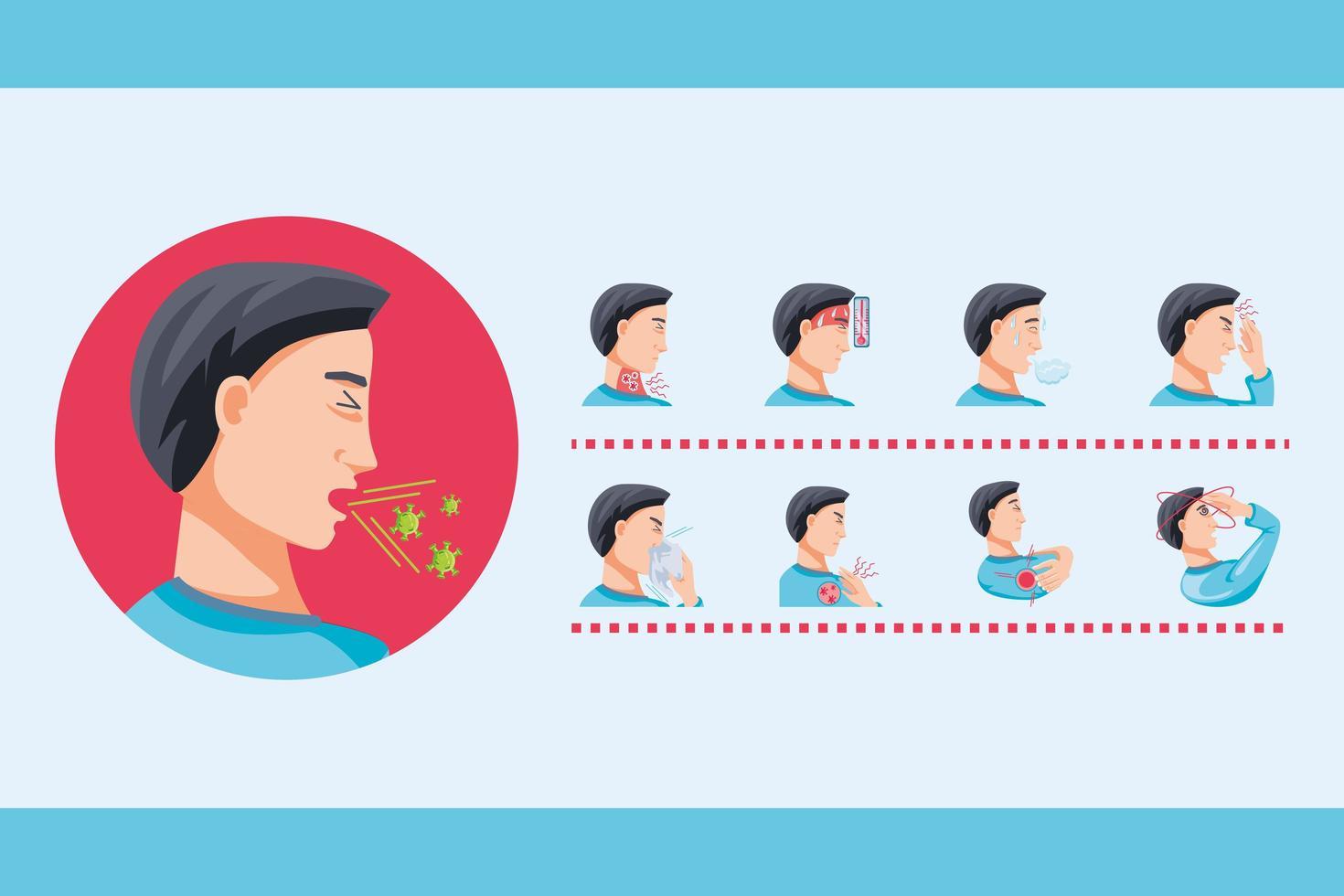 Satz von Symbolen mit Symptomen des Coronavirus vektor