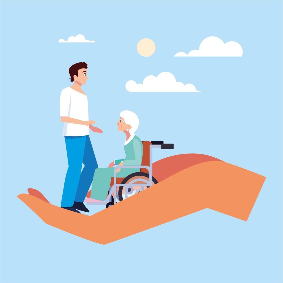 junger Mann kümmert sich um alte Frau, kümmert sich um ältere Menschen vektor