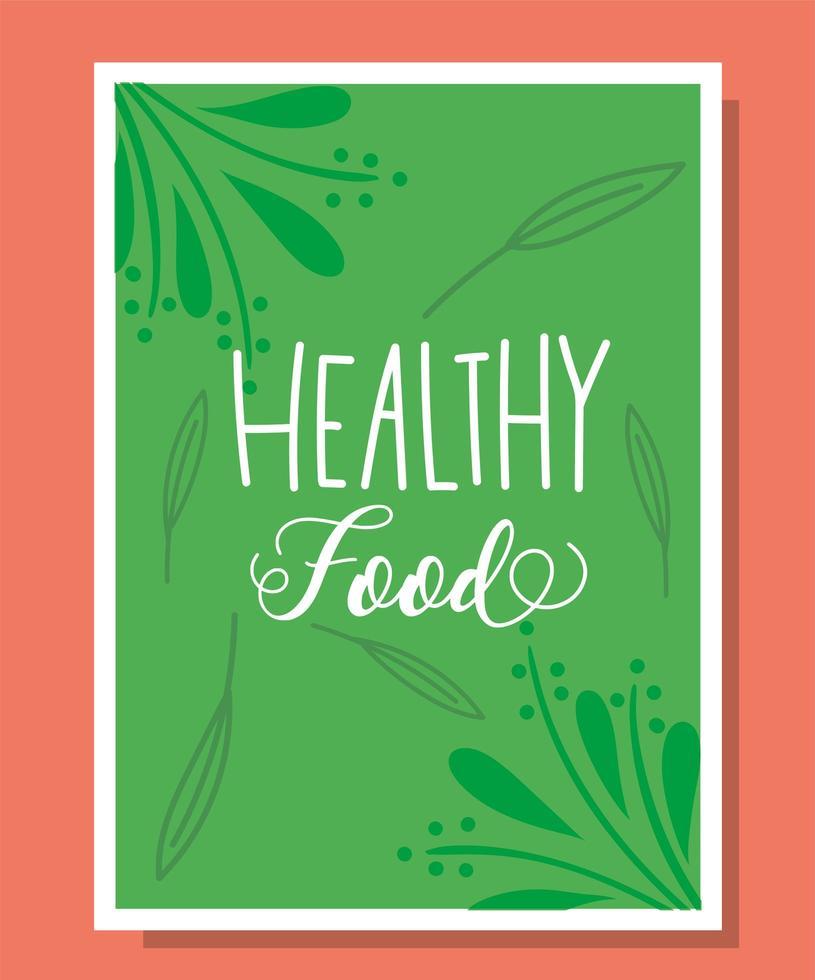 gesunde Lebensmittelbeschriftung in einer grünen Fahnenschablone vektor