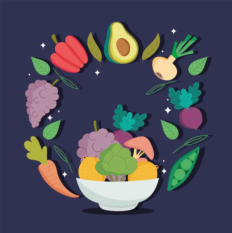 eine Schüssel mit gesunden Bio-Lebensmitteln vektor