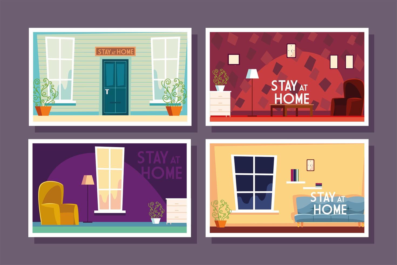Satz Heimkarten mit Etikett bleiben zu Hause vektor