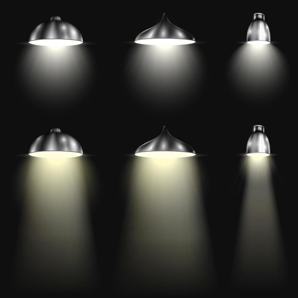 drei Arten von Scheinwerfern mit Strahlen vektor