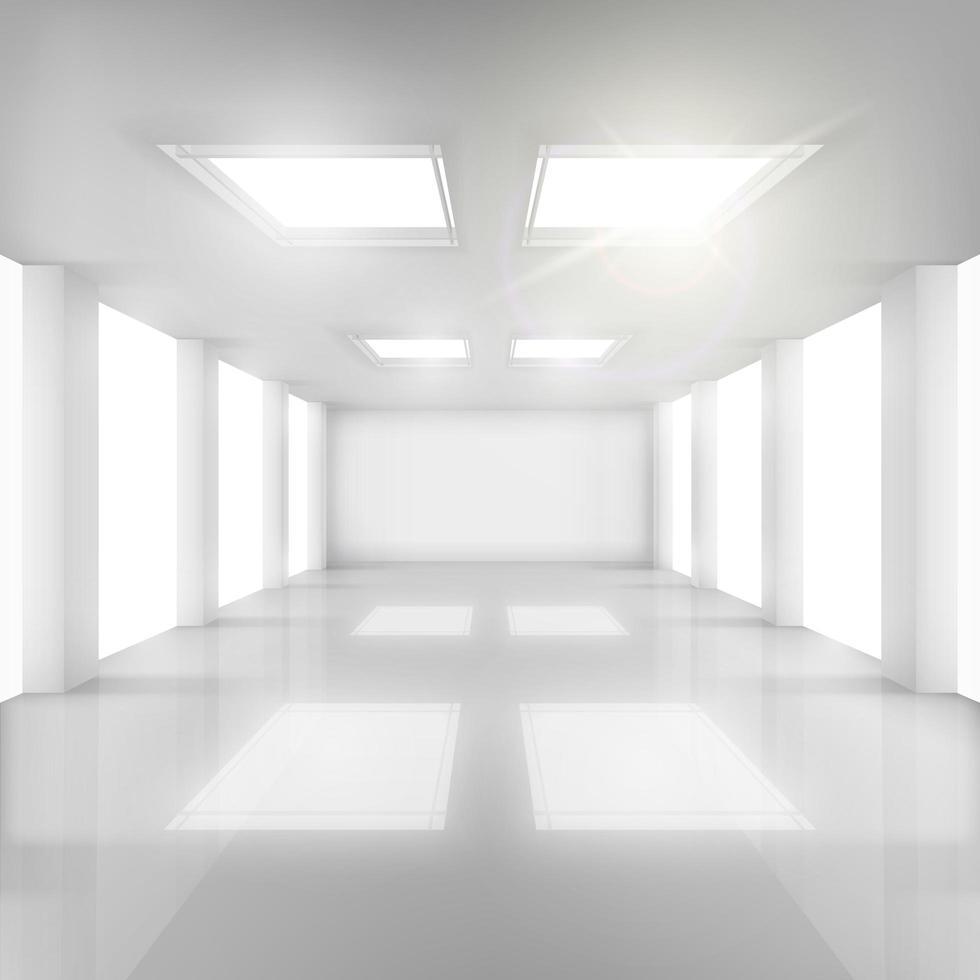 vitt rum med fönster i väggar och tak vektor