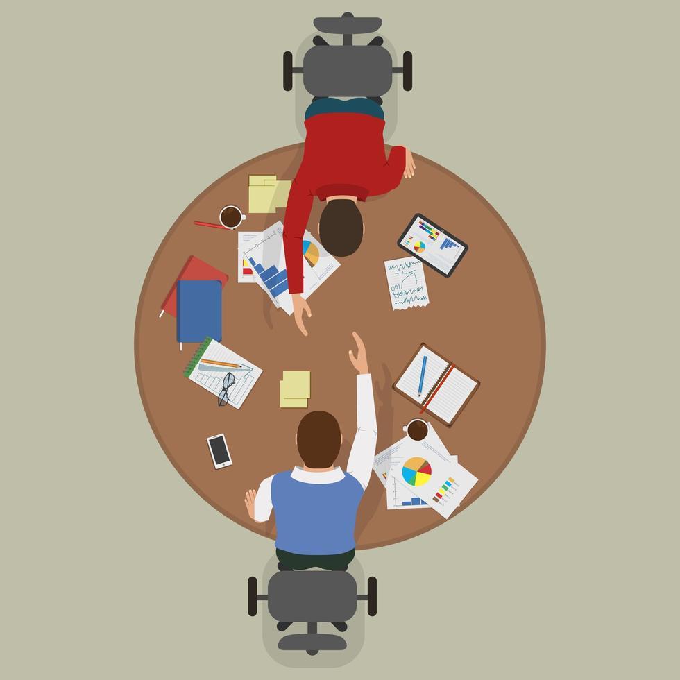 Ansicht von oben nach unten von Geschäftsleuten, die einen Deal machen vektor