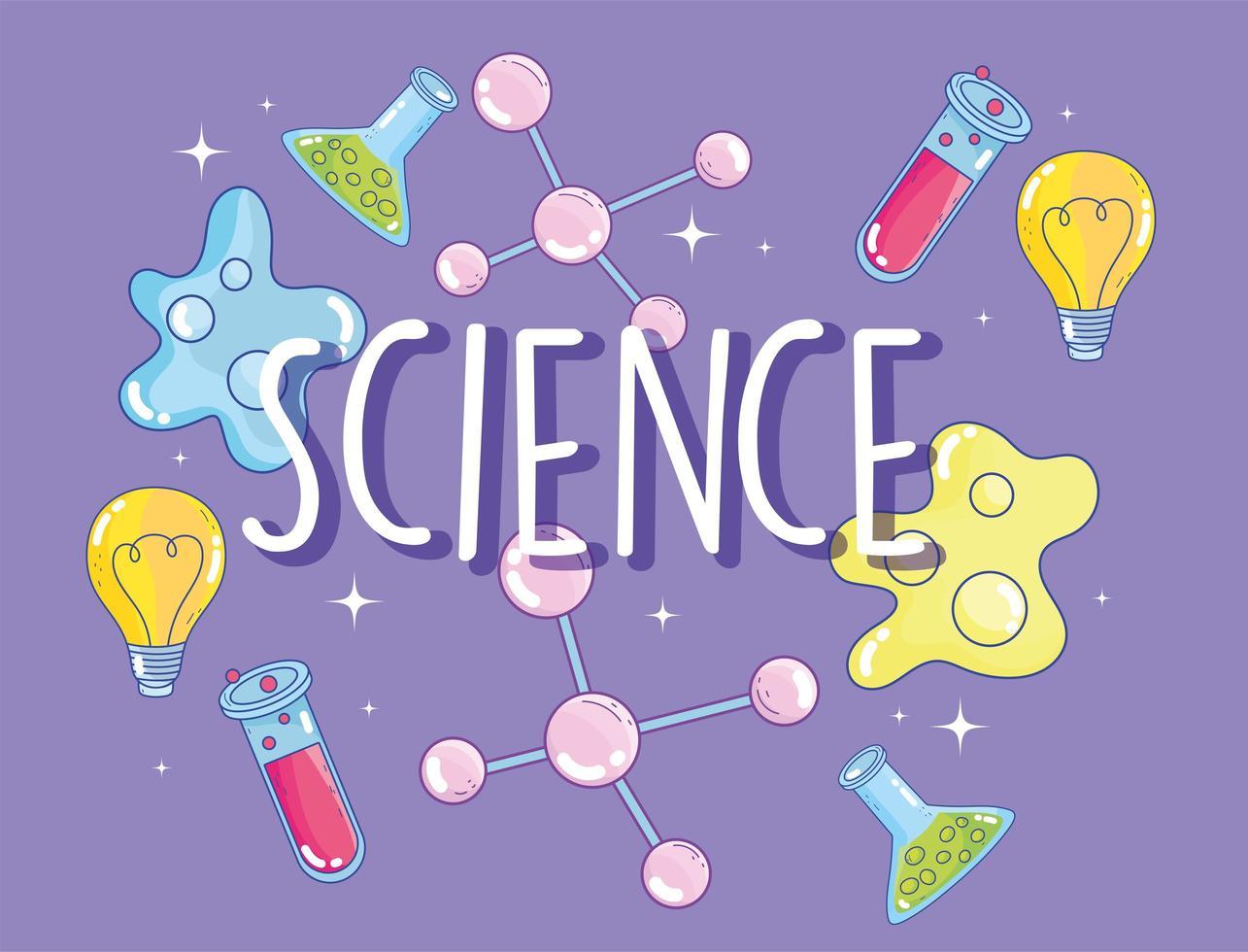 niedliche Wissenschaftsbeschriftung und Laborikonenfahnenschablone vektor