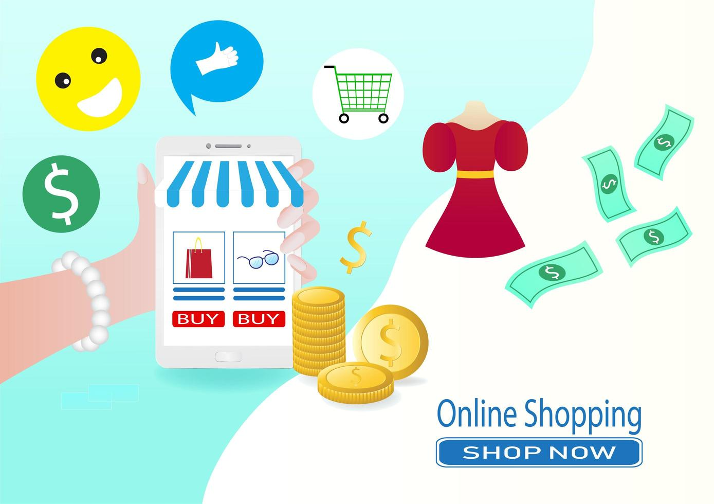 Smartphone Online-Verkauf und Store-Konzept vektor