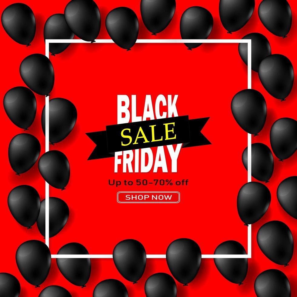 glänzende Luftballons des schwarzen Freitags im weißen quadratischen Rahmen vektor