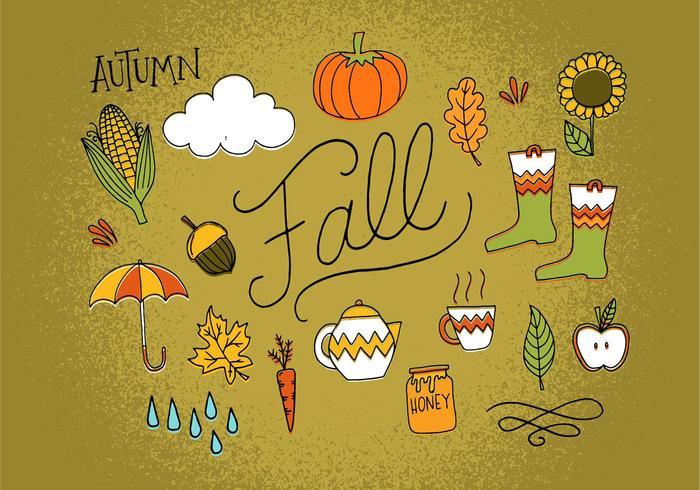 Handdragen hösten ikoner vektor