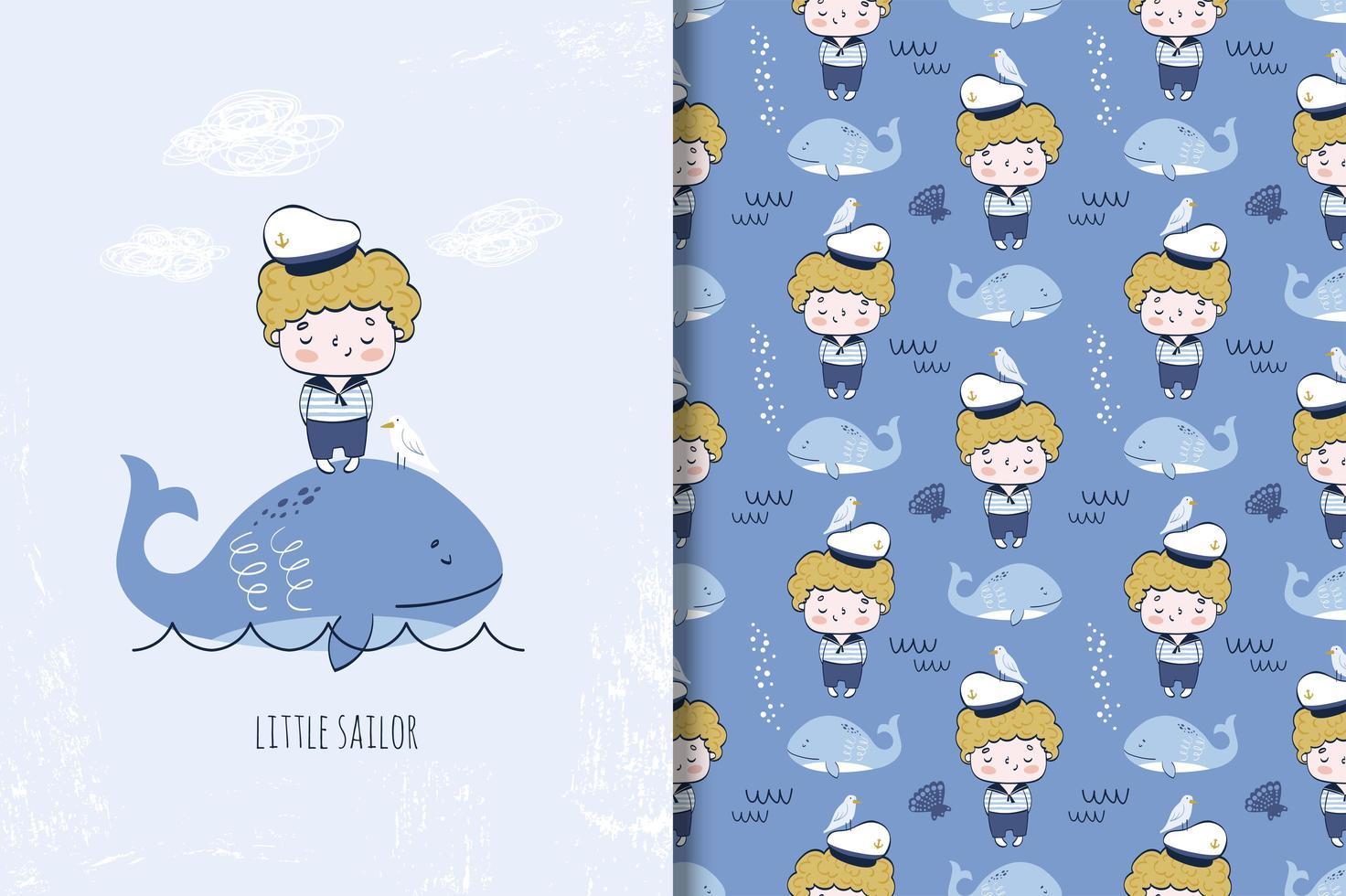 kleiner Junge Seemann auf dem Wal vektor