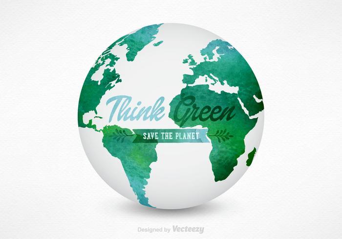 3D vattenfärg världskarta Globe Vector