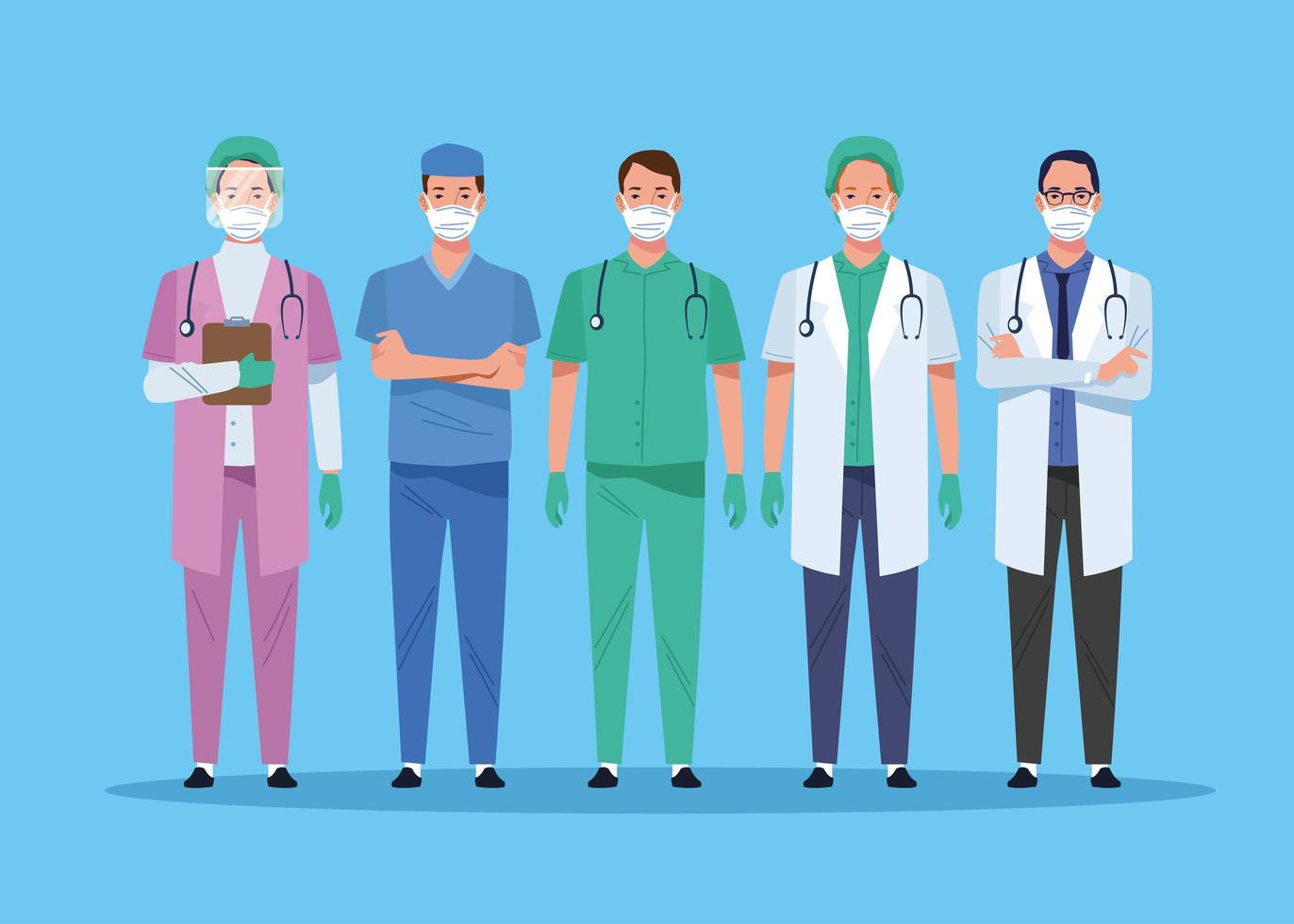 sjukvårdspersonalens karaktärer vektor