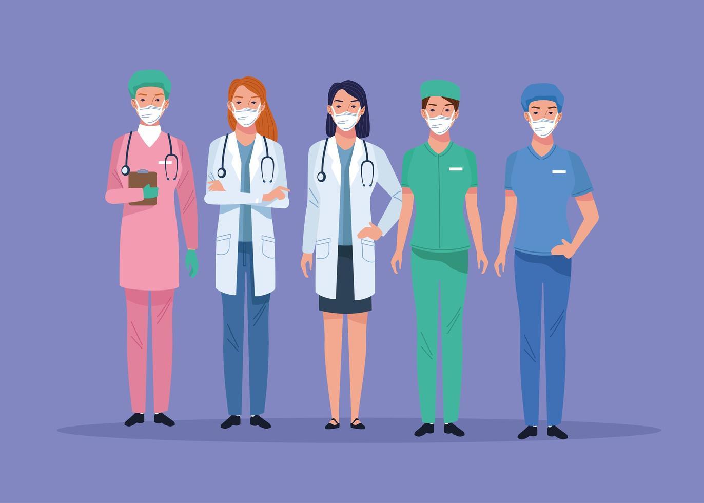 grupp vårdpersonal karaktärer vektor