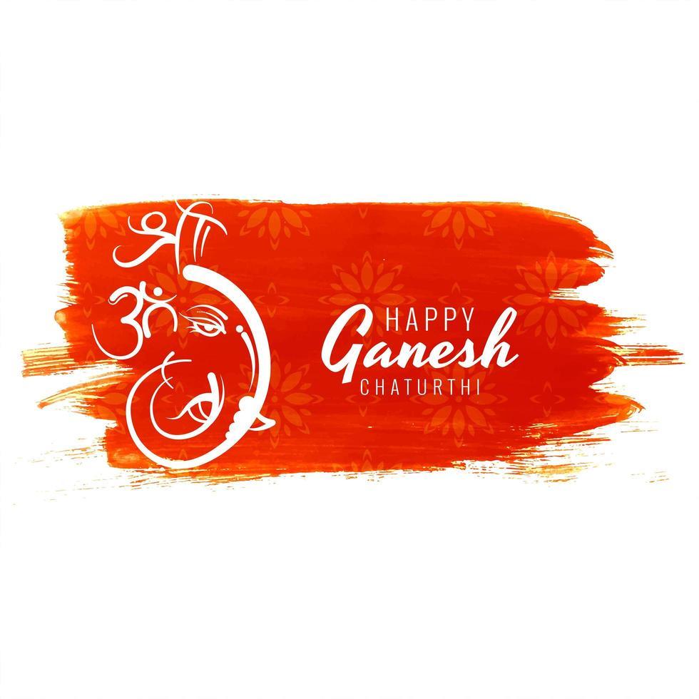 Ganesh Chaturthi Festivalkarte auf rotem Farbstrichhintergrund vektor