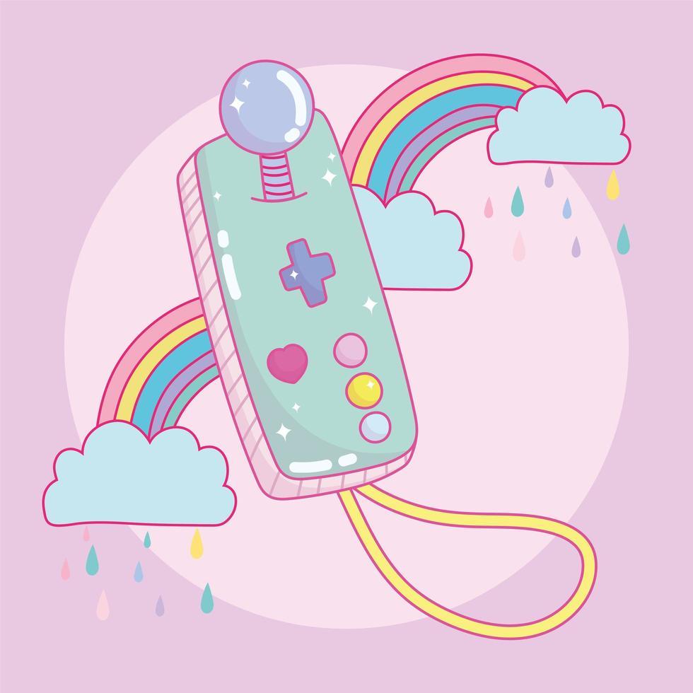 tragbarer Controller-Joystick für Videospiele mit Regenbogen vektor