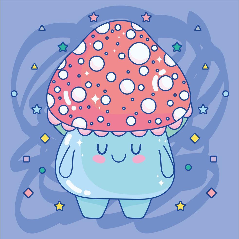 entzückende Pilz-Zeichentrickfigur vektor