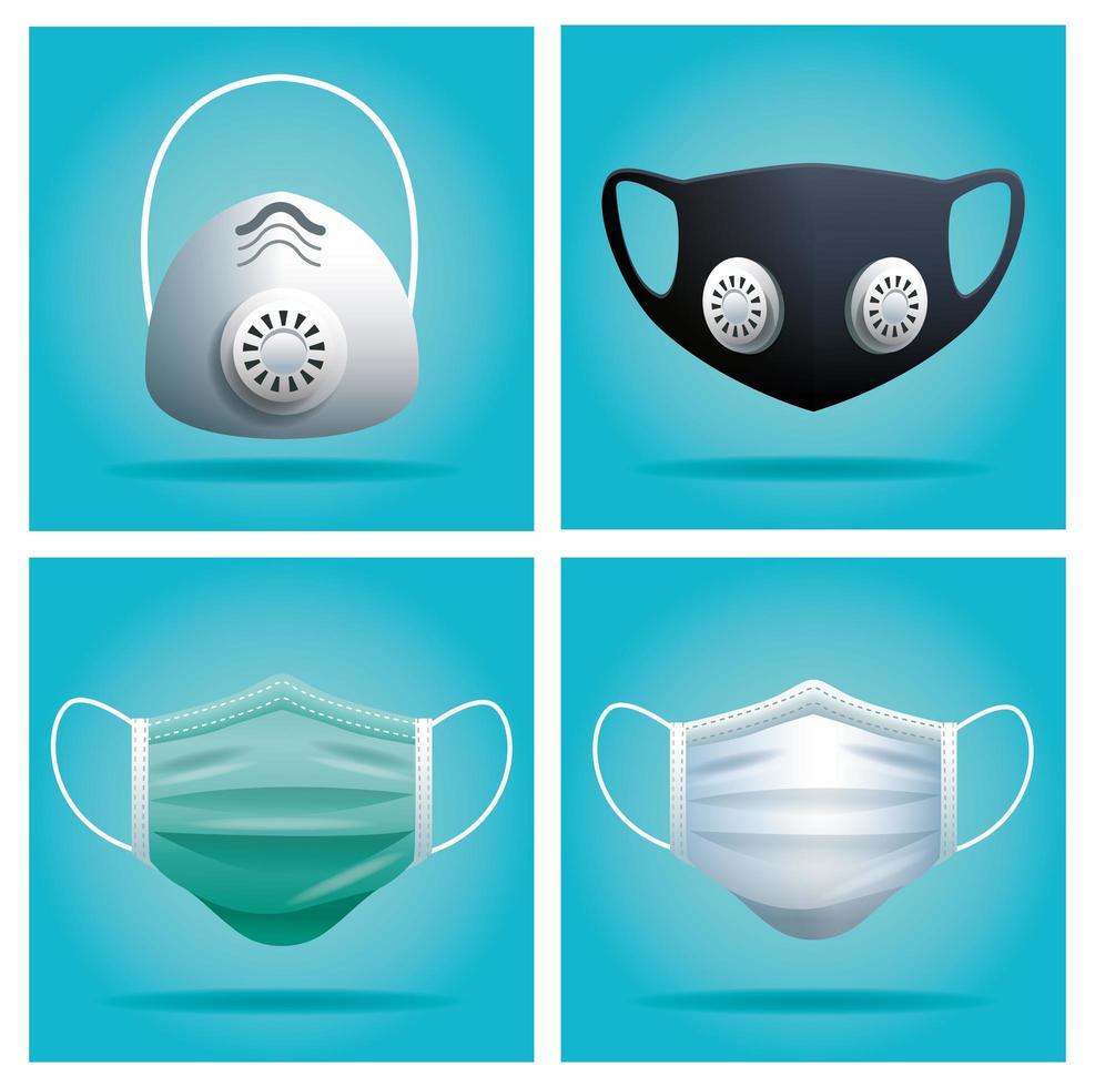 medizinische Masken zum Schutz vor Viren vektor