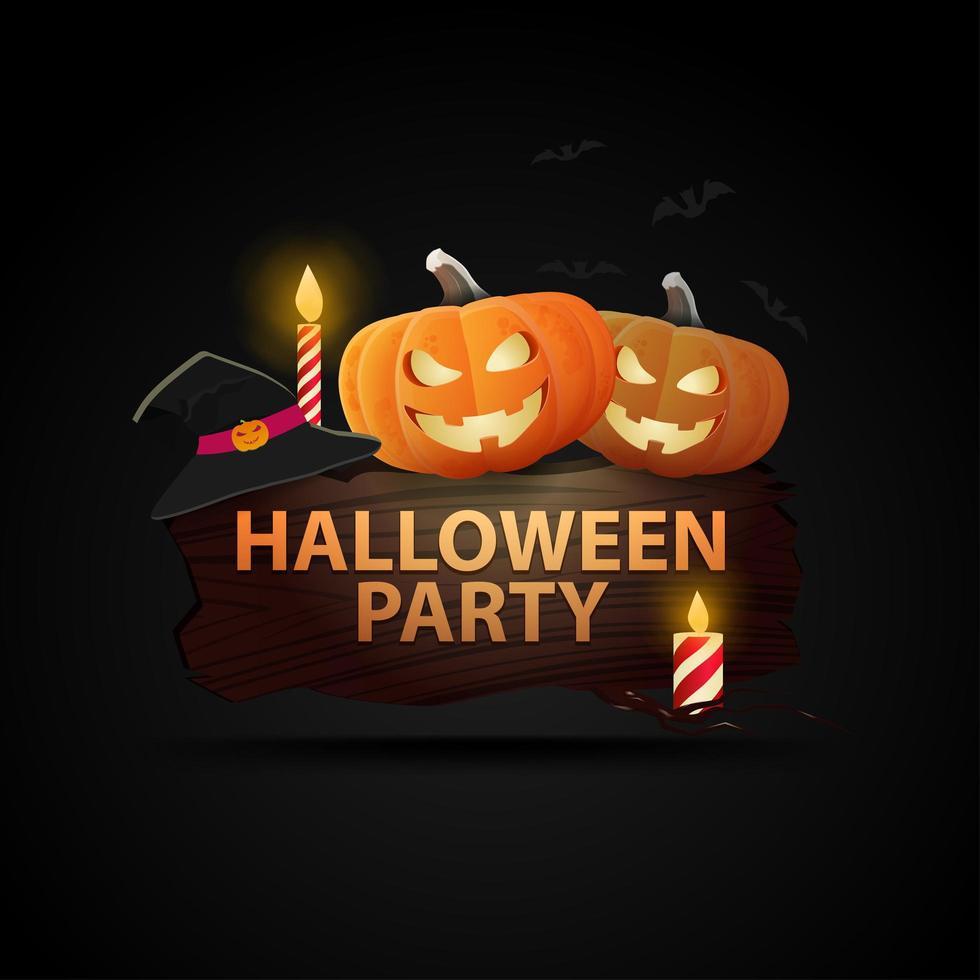 Holzschild mit Kürbissen und Kerzen für Halloween-Party vektor