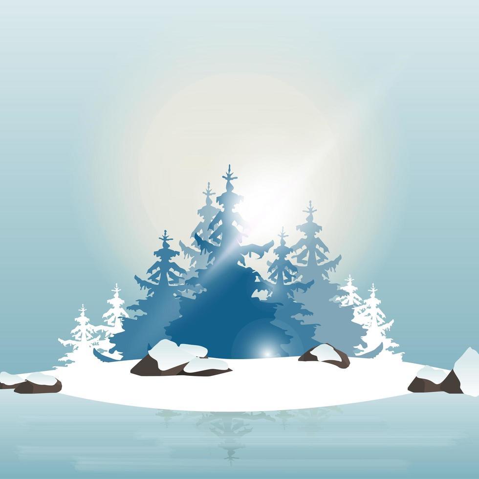 Winterkiefernwald am Ufer eines zugefrorenen Sees während des Sonnenuntergangs vektor