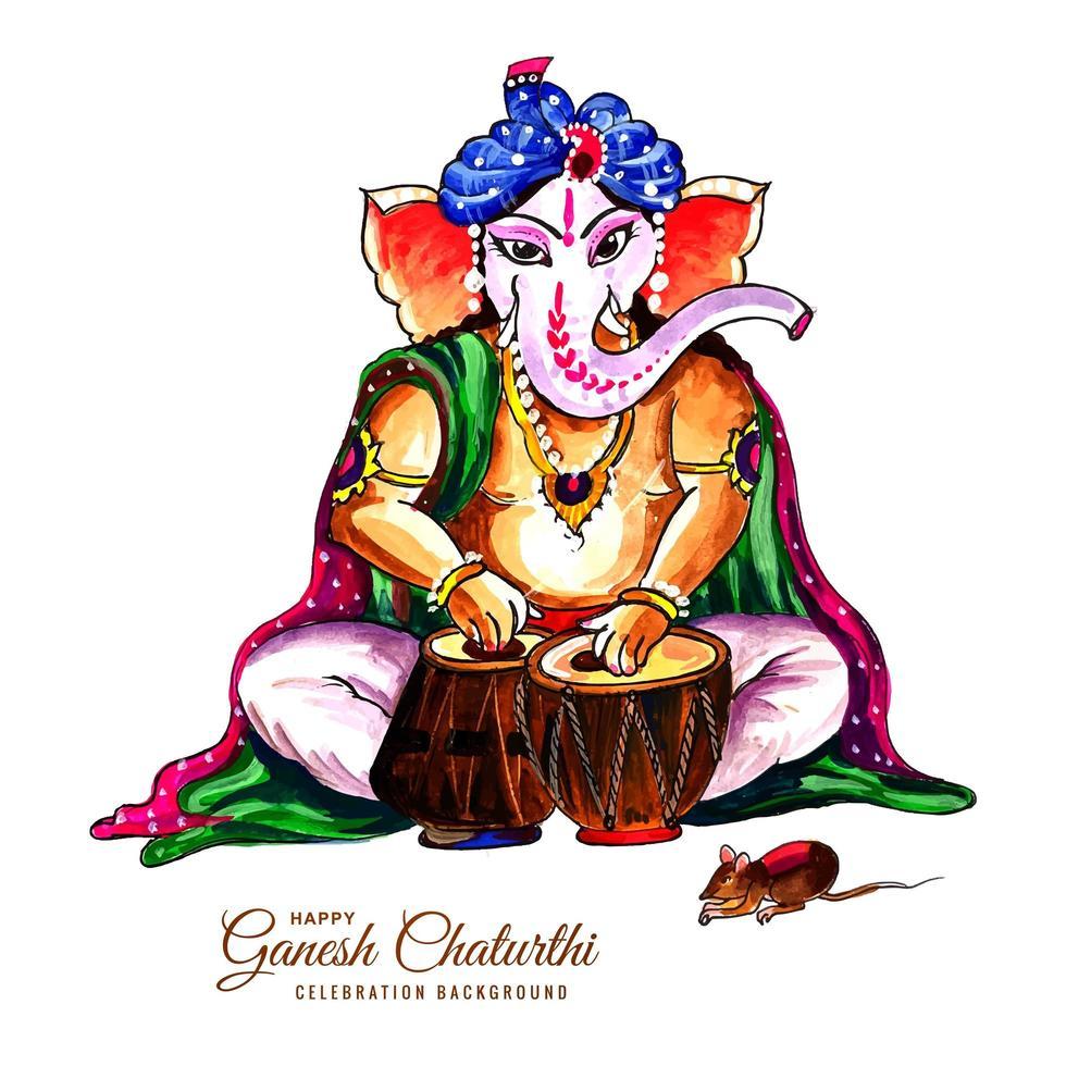 Schlagzeug Lord Ganesh Chaturthi indischen Festival Karte Hintergrund vektor