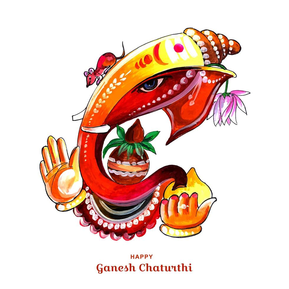 abstrakter glücklicher Ganesh Chaturthi Festivalkartenhintergrund vektor