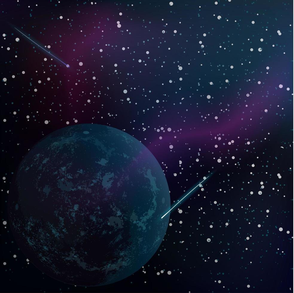 realistischer Weltraumhintergrund mit unbekanntem Planeten und Sternen vektor