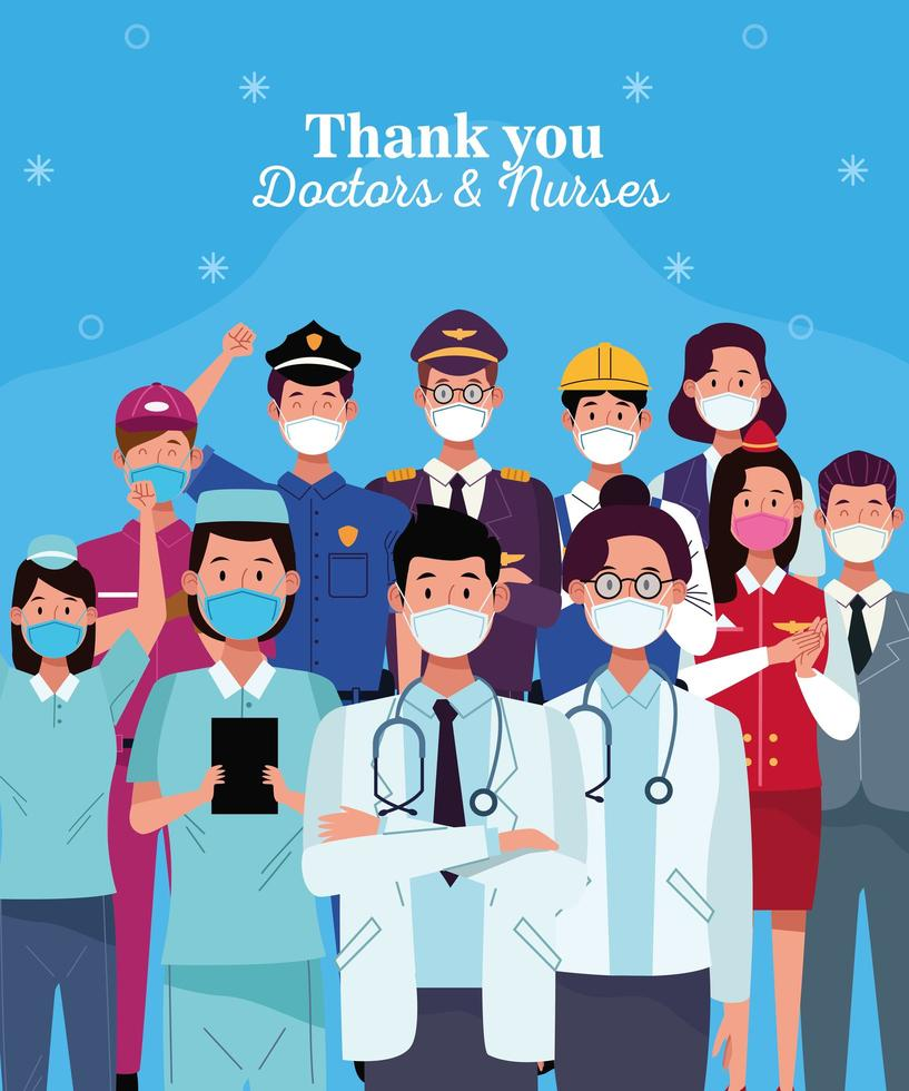 arbetare som bär ansiktsmasker med tack läkare och sjuksköterskor bokstäver vektor